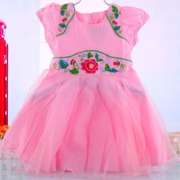 新款古代风情绣花公主裙儿童裙子婚纱裙连衣裙童装蓬蓬裙5561(粉红色