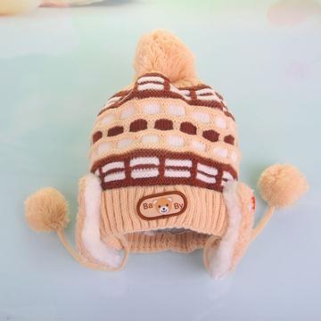 款0-1岁男女童宝宝小白兔加绒护耳套头帽0579(棕色 头围平铺约40cm)