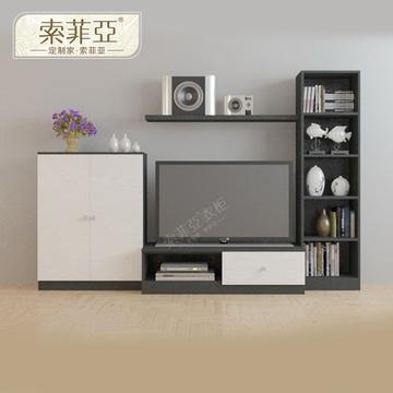 现代简约居中式深色布纹电视柜