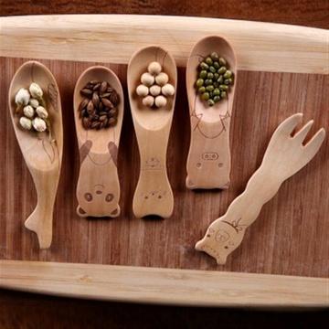 可爱创意木质冰激凌勺原木/动物小勺子(熊猫)