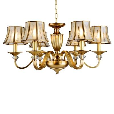 尚人居 全铜欧式吊灯 客厅灯卧室灯餐厅灯 美式铜灯餐厅书房吊灯 奢华