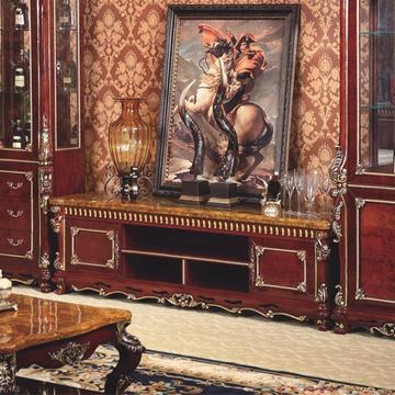 弗莱金堡欧式奢华实木电视柜路易世家美式铂金大理石
