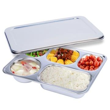 拜格不锈钢餐盘菜盘食堂餐具饭盒(方形5)