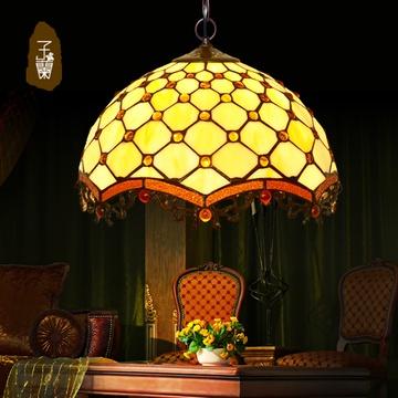 蒂凡尼吊灯客厅欧式装饰吧台餐厅过道复式别墅楼梯灯具(18寸珠帘吊灯)