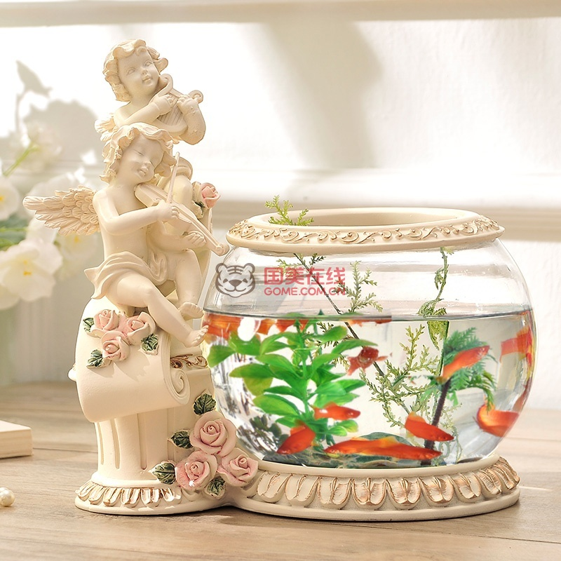 客厅电视柜装饰摆件 欧式家居饰品精美天使鱼缸 结婚礼物实用礼品