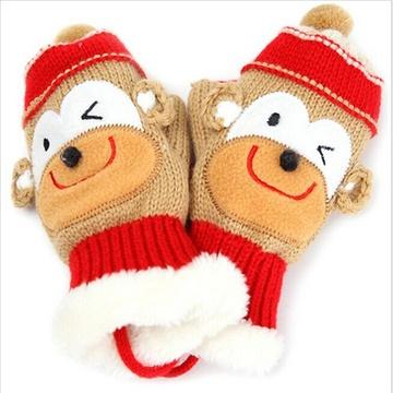 金童冕 秋冬加厚宝宝保暖连指手套糖果色可爱卡通儿童