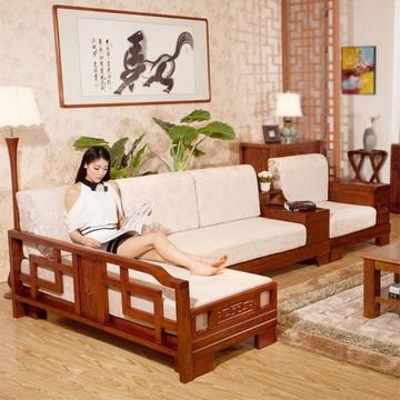 xiyingmen客厅实木沙发组合 贵妃转角布艺沙发 现代中式实木家具20图片