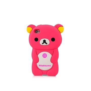 手机壳苹果5s卡通保护套5s立体硅胶呆萌小熊手机壳(玫红色iphone6/6s
