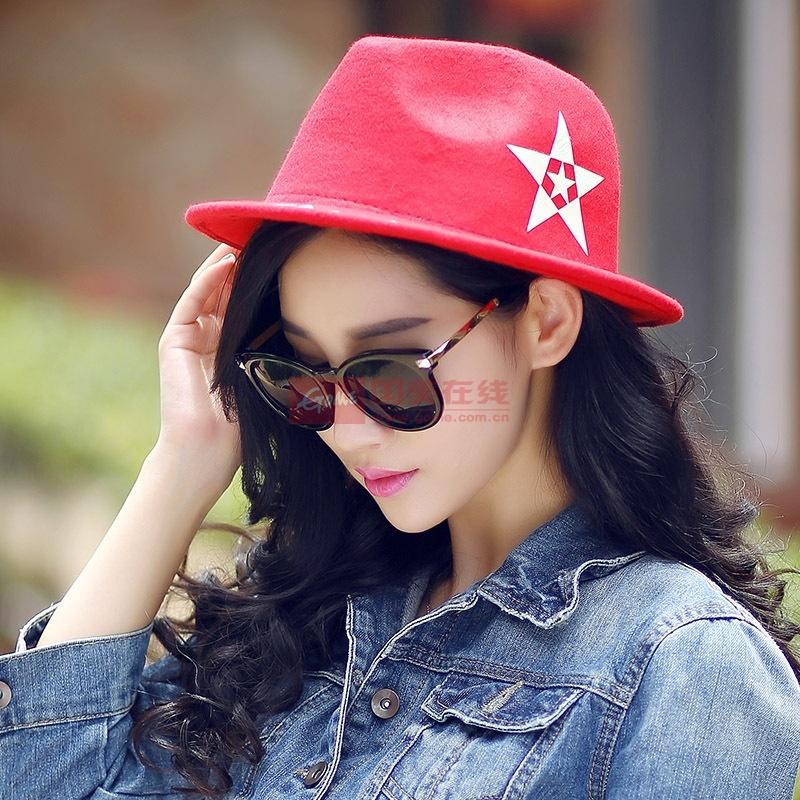【帽子大红色图片】韩版爵士帽子女礼帽品牌秋冬新款
