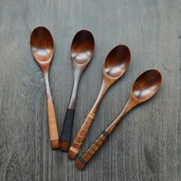 直柄缠线木勺 楠木直柄木质饭勺