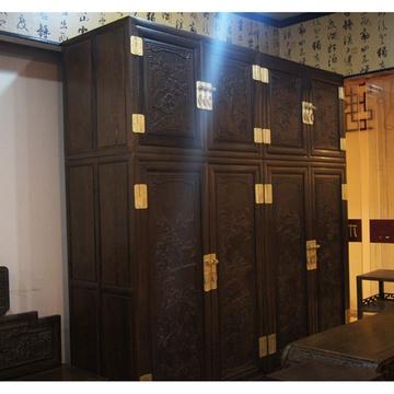 红木家具红木顶箱柜实木衣柜简易中式雕花实木大衣橱鸡翅木
