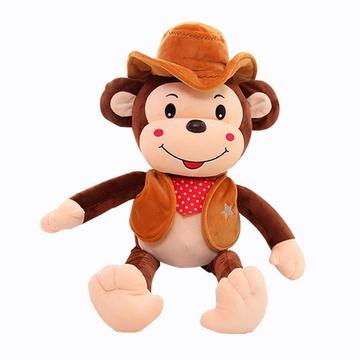 可爱猴子公仔毛绒玩具大嘴猴布娃娃牛仔生肖猴玩偶送