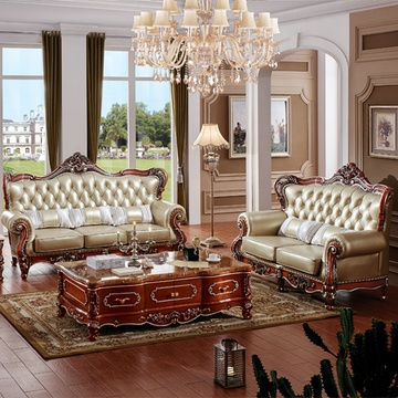 永旭家具 实木欧式皮艺沙发组合牛皮实木雕花客厅皮沙发6918(深棕色