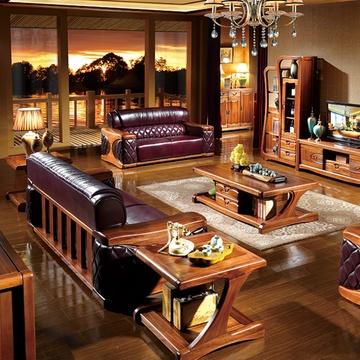 沙发 金丝檀木家具全实木沙发真皮沙发组合