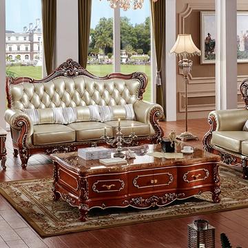 永旭家具 欧式茶几实木大理石面茶桌电视柜套装组合储物柜茶几622(高