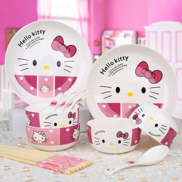 乾越14头卡通凯蒂猫陶瓷可爱餐具套装2圆盘4碗4勺4双筷子