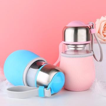 乾越 创意企鹅玻璃杯大肚牛奶水杯子便携可爱小水杯玻璃水杯 单个装