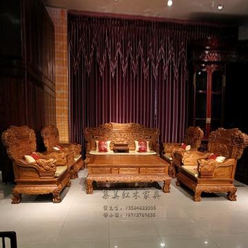 琪梦红木家具红木沙发11件套刺猬紫檀实木沙发客厅大