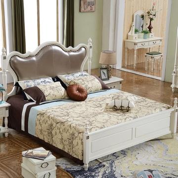 凯莎豪庭家具 简约美式双人床 欧式田园床 实木床柱油