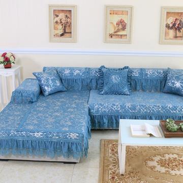 雪尼尔欧式沙发垫防滑加厚靠背巾抱枕沙发坐垫厂家直销(高雅蓝 枕套