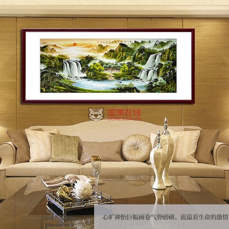 积善办公室客厅装饰画国画山水画靠山图旭日东升(b款三尺卷轴142*60cm