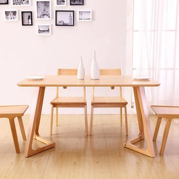 御品梓匠 北欧宜家全实木餐桌组合 餐厅家具日式全榉木餐台椅饭桌原木