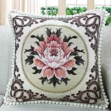 囍人坊 欧式提花浮雕靠垫 刺绣沙发抱枕套含芯 布艺床头提花大靠垫(爵