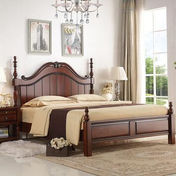 8米简约双人欧式床复古卧室婚床成套家具 罗马柱床(1500x2000 床 床垫