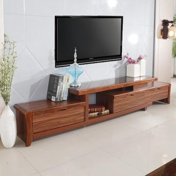 中式乌金木色电视柜 简约现代伸缩电视机柜