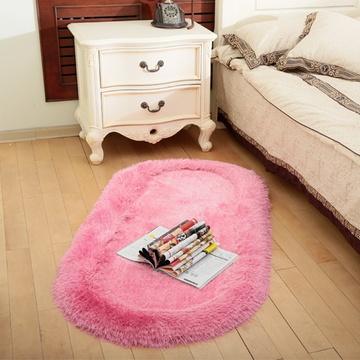 艾虎欧式婚庆椭圆形弹力丝床边地毯