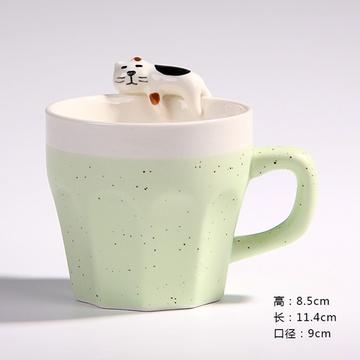润器3d立体萌物可爱水杯 办公泡茶咖啡杯子 陶瓷马克杯生日礼品(猫咪