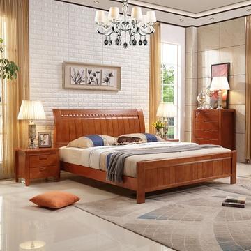 实木双人床 婚床双人床简约现代中式家具