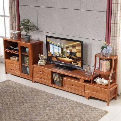 现代简约实木电视柜 橡胶木组合柜客厅影视墙电视柜带储物空间橡木