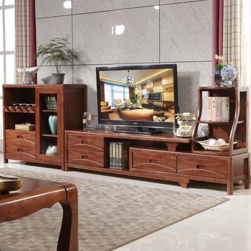 明佳友 现代简约实木电视柜 橡胶木组合柜客厅影视墙电视柜带储物空间