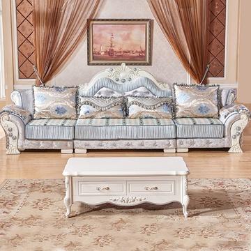 香河家具城 沙发 欧式沙发 实木沙发客厅组合小户型沙发(蓝色 222直排