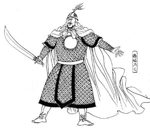手绘民国男子 插画