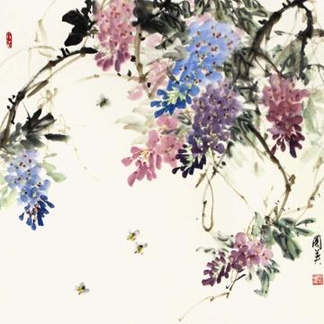 吴兰英 紫藤2> 国画 花鸟画 水墨写意 蜜蜂 紫藤 斗方